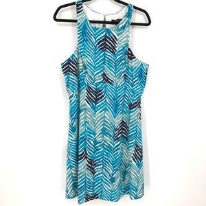 Trina Trina Turk Sz L A-Line Knit Dress Blue Multi